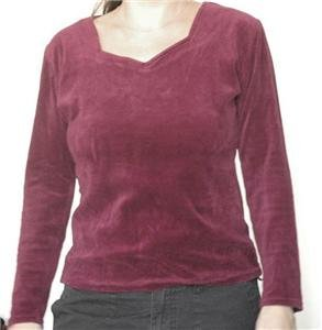 Bourdeaux velvet shirt long sleeves top size 40