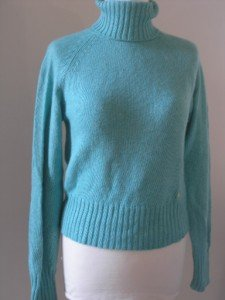 ZARA WOMEN'S TURQUOIZE KNIT LONG SLEEVES SWEATER SIZE L