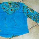 Junior short turquoise shirt blouse size 2