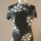 Miss Bernard black white flowers short sleeves women shirt blouse sz 2