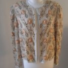 Women romantic top jacket sequins beige flowers sz M