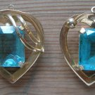 Vintage blue glass probably goldtone magnifying pendant earrings