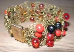 Fashion Knitted Metal Brown Red Orange New Bracelet 7""