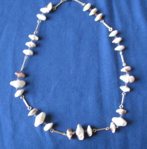 unique New art glass bead necklace 23 beads in black white gray various shapes winter