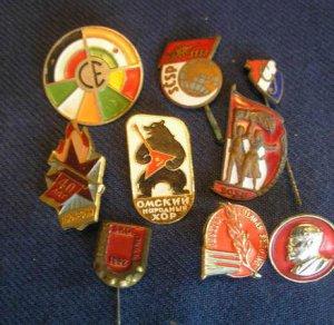 Vintage original lot of 9 SOVIET RUSSIAN CCCP badges medals pins
