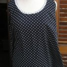 Women SHE'S polka dot sleevelesss shirt top blue & white sz XL