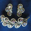 Crystals vintage new Brooch and clip Earring set gold tone clear rhinestone jewelry set