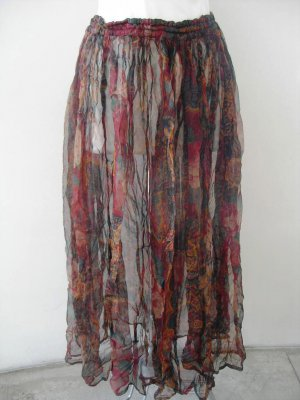 Transparent viscose maroon green flowers print long maxi skirt, elastic waist sz S