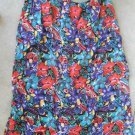 Beautiful multicolor flowers print S-M red blue below knee skirt