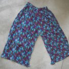 Purple blue multicolor cotton pants skirt floral sz L
