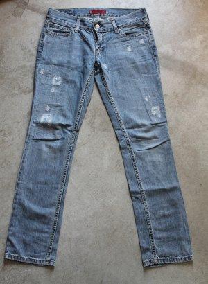 LEVI'S Patty Anne junior blue jeans dżinsy low rise square cut slim leg pants trousers Hosen