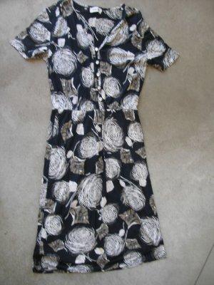 ANAT MANOS Retro floral short sleeves dress robe kleiden vestire sz S - M