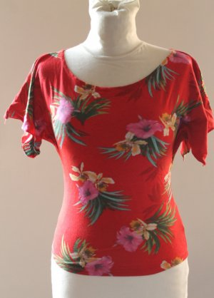 first JUMP sexy red floral t-shirt chemise top sz S