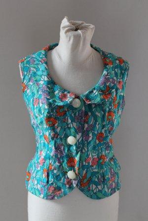 Great vintage vest top gilet customised sewing floral  blue sz S