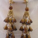 Vintage gold & brown flowers clip chandelier earrings