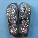 NWT LADIES SANDAL FLIP FLOPS SHOES BLACK FLORAL sz 38