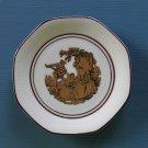 "Vintage SCHIRNDING BAVARIA Porcelain Hectagon Saucer Plate Gold Romantic Image 4.75"" diameter"