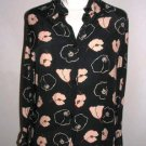 JJB BENSON Black flowers pint shirt blouse top sz 10