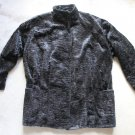 MIC CHARLES VINTAGE ASTRAKHAN FUR BLACK JACKET COAT MADE IN FRANCE