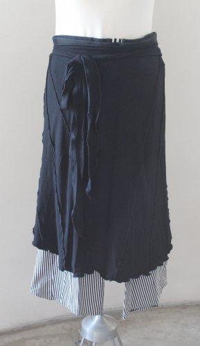 LIAT AZAR Black White Cotton Skants 3/4 Striped Pants & an Envelope Skirt Combo