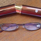 Brown Compact Reading Glasses & Slim Metal Case +3.50 thin semi rimless
