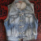 CASTRO JEAN VEST size 26 small denim women jacket coat sequin embellish