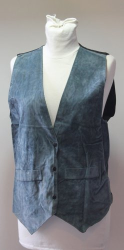 Vintage Blue Black Vest L Velvet Fully Lined