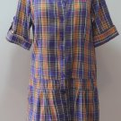 ZARKOR Purple Prange Plaid Dress Tunic Size S short sleeves Cool!!