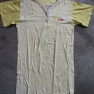 SEYKO Cotton Short Sleeves Robe Nightgown sz M yellow & white  stripes