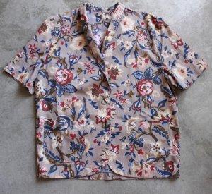 Womens Floral Beige Linen Cotton Safari Top Jacket Short Sleeves sz L