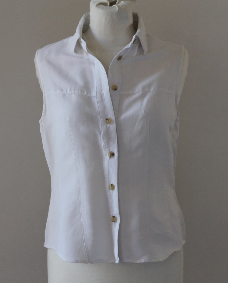 Women Button up Sexy Sleeveless White Blouse top shirt chemise camicia blusa, sz S