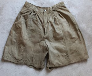 MAQUETTE Sz 46 Ladies Khaki Suede Leather Walking Shorts Pant Lined