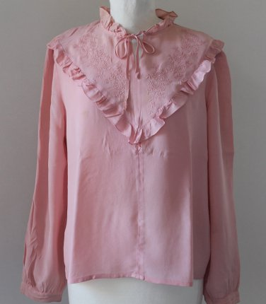 Romantic Vintage pink embroidered Blouse Sz S