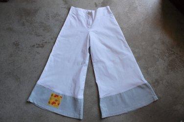 Women junior OTENTICO cropped wide leg white blue trousers pants pantalones hosen sz 8 us