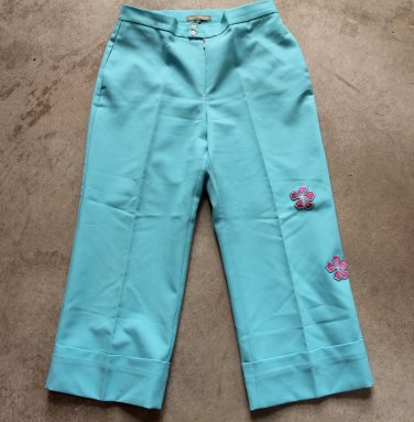 Women junior DAN KASSIDI cropped blue trousers pants pantalones hosen sz 38
