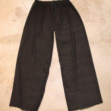 RAMPAGE Black wide leg Long Plisse Pants women's transparent trousers pantalones hosen M