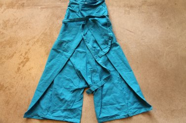Unisex Blue Fisherman Pants Shorts 3/4 leg Cotton Sz 23 trousers pantalones hosen