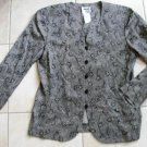 Women LESLIE FAY fashion gray floral blazer jacket sz 10