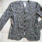 Women LESLIE FAY fashion gray floral blazer jacket sz 10