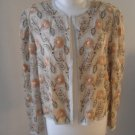 """Papell Boutique"" Women romantic top jacket sequins beige flowers sz M"