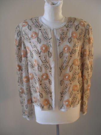 """""""Papell Boutique"""" Women romantic top jacket sequins beige flowers sz M"""