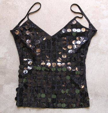 Black sexy sequined camisole tank top, Sz XS