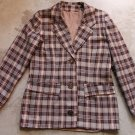 Vintage Plaid Women's 3 Buttons Blazer Jacket Sz Small - Medium
