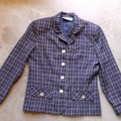 MICHELE New York Vintage Blue Plaid Women's 3 Buttons Blazer Jacket Sz Small - Medium