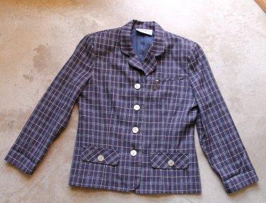 MICHELE New York Vintage Blue Plaid Women's 3 Buttons Blazer Jacket Sz Small - Medium