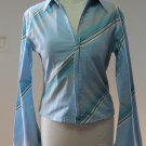 OBJECT JEANS PRIENCE Sexy Blue Striped Long Sleeves Shirt Blouse Sz 2 CREATION PARIS
