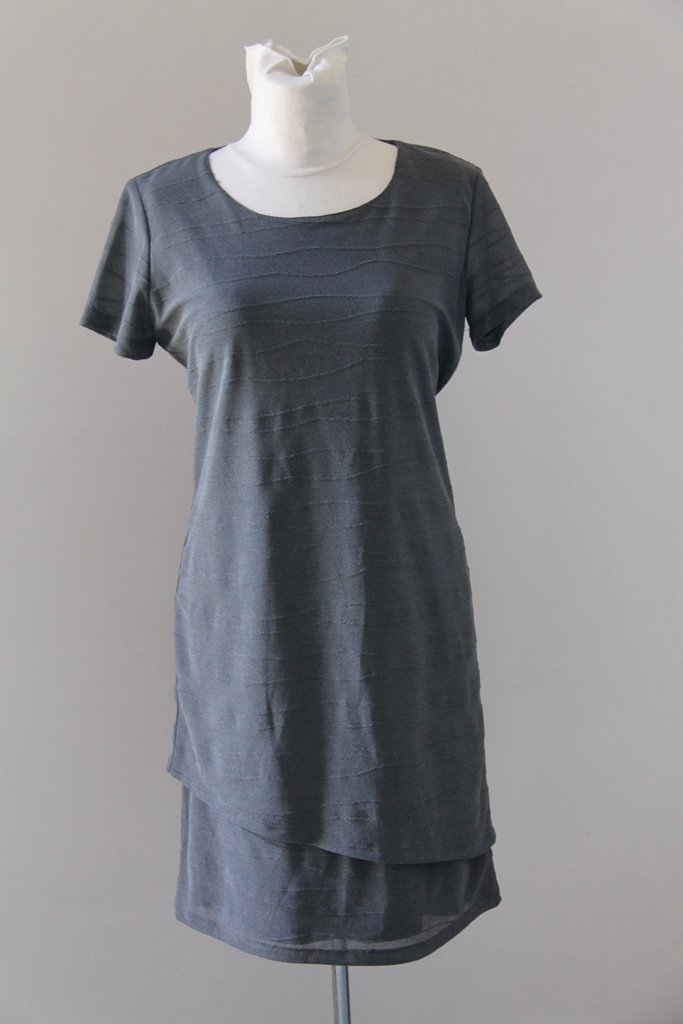 ANIMA Gray Elegant Short Sleeves Dress Robe Kleid size S
