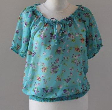 EAST T.village Boho Floral Turquoise Shirt Blouse Top Chemise Camicetta Sz 2