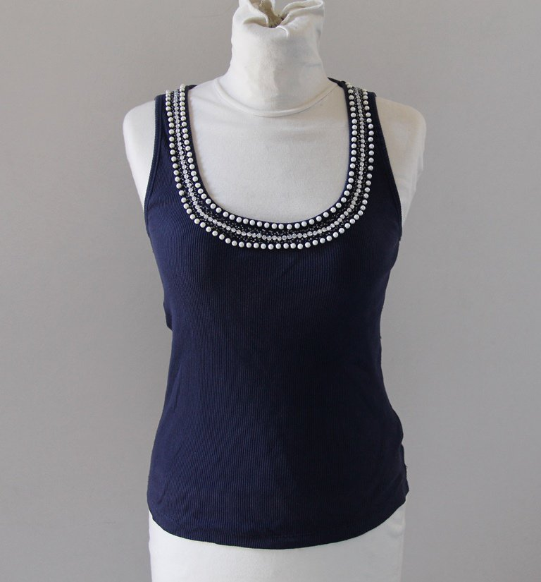 Blue  Cotton Camisole fake pearls diamonds Singlet Canotta tank top Sz M
