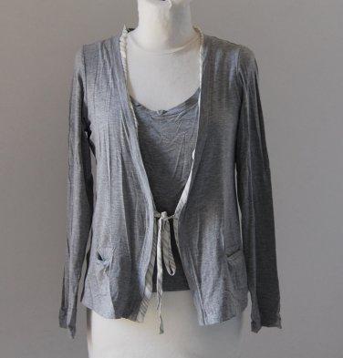 RINA ZIN Gray Long Sleeves Double Layer Shirt Blouse tank top �л�зка Camicetta Sz 2